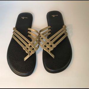 Sanuk salty gold yoga sandal. Size 9. Like new